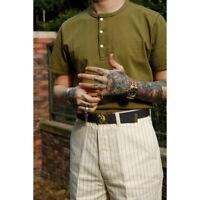Labour Union Henley Shirts Summer Vintage Short Sleeve Cotton T-Shirts For Men