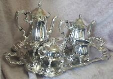 Vintage Silver Plated Full Tea Coffee Set With Tray Victorian Style