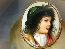 9kt Yellow Gold Antique Victorian Painted CAMEO Portrait BROOCH Boy Feather Cap