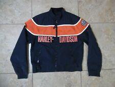 Harley Davidson Racing Black orange Motorcycle Jacket USA Made Medium