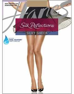 Hanes Pantyhose 4-Pack Silk Reflections Non-Control Top Reinforced Toe Sheer