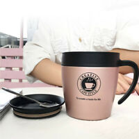 Hot Coffee Travel Mug Stainless Steel Thermos Tea Cup With Handle 330ml 5 Colors