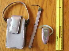 Motorola Bluetooth Headset Pink handsfree ear piece hook & Pink phone case