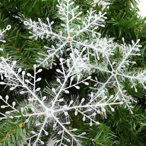 30PCS Christmas White Snowflakes Decorations Xmas Tree Party Ornaments 11cm