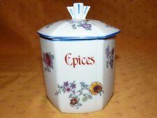 Ancien pot à épices Art Déco en porcelaine à motif floral *2* Epices