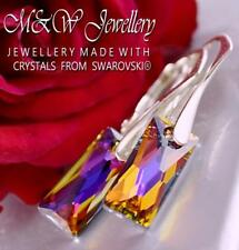 925 Silver Earrings QUEEN BAGUETTE Volcano 13.5mm Crystals From Swarovski®