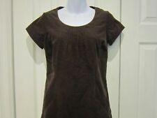 Boden Corduroy Needlecord Pintuck Dress Brown Side Pockets Lined UK 6R US 2R