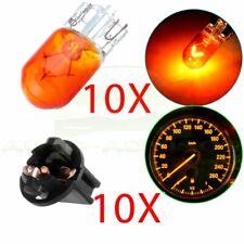"10X Orange T10 Wedge halogen W5W 168 194 LED Interior Light bulbs + 5/8"" Sockets"