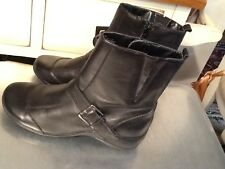 Strictly Comfort Black leather buckle  ankle Boots Women's Size 6 M- EUC