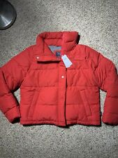 NWT Abercrombie & Fitch Womens Red  Puffer Jacket Coat L Large Waterproof