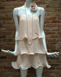 H&M Nude Flapper 1920s Gatsby Charleston Frill Tiered Dress Size M