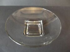 "Large Round Bowl 10-1/4"", Cambridge Glass Cube Square clear glass art deco vtg"