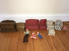 Lot of vintage doll house furniture And Figurines Concord Miniature Wood Couch