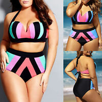 Plus Size Women Bikini Set Swimwear High Waist Push Up Bathing Beach Swimsuit