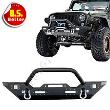 Front Bumper W/Built-in LED Lights & Winch Plate For 07-17 Jeep Wrangler JK