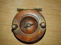 "S Allcock & Co Ltd 3"" Wooden & Brass Strapback Vintage Fishing Reel"