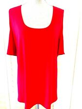 SLINKY BRAND BLOUSE SIZE 3X  SEX CUT OUT SHORT SLEEVES RED MADE IN USA