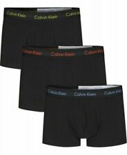 Calvin Klein 100% Authentic Men's Boxer Shorts Low Rise Trunks - 3 Pack Black