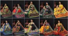 Designer Saree Sari Handloom Kalamkari Dough Dye Linen Digital Print Party Wear