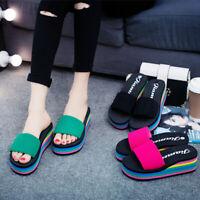 Women's Rainbow Platform Wedge Heel Slippers Beach Slides Sandals Casual Shoes