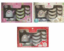 Kids Tin Tea Set Large Toy 15 pieces Children Picnic Pretend Play Teaset 3+ New
