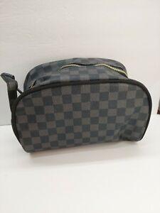 PU Leather Toiletry Bag Make-up Shaving Kit Travel Organizer Black/Grey Case