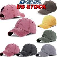 Women Denim Baseball Cap with Ponytail Girl Adjustable Sun Hat Solid  Cap Summer