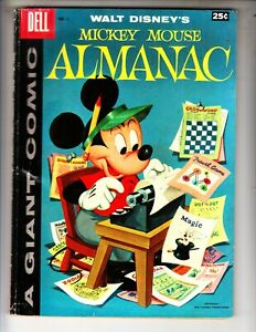 Mickey Mouse Almanac 1 VG+ (4.5) 84 pages! 12/57 Dell Giant! Barks art!