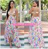 Women Summer  Sexy Spaghetti Strap Beach Chiffon Floral Print Maxi Long Dress