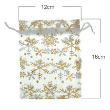 25X 12cmx16cm Gold Snowflake White Organza Wedding Favours/XMAS Gift Bags HX