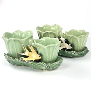 2 Vintage McCoy Pottery (USA) Double Tulip Green Glaze Swallow Bird Planters