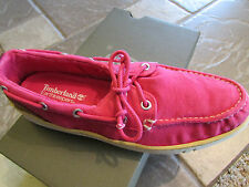 NEW TIMBERLAND DARK PINK  HOOKSET CANVAS BOAT SHOES WOMENS 7.5 FREE SHIP