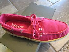 Women's Timberland EK Hookset Canvas Boat Shoe Pink Size 8