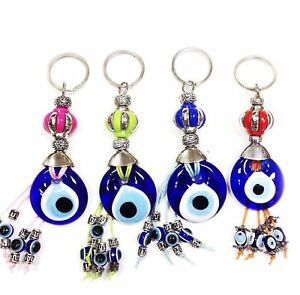 Evil Eye flower blue crown with glass eye and dangling eyes key chain #1308