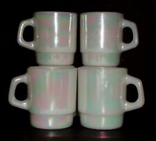 Lot - 4 Fire King White Pearl Luster Lustre Stacking Mugs C Handle Aurora Anchor