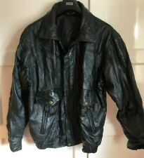 Men's Black Leather Jacket, Patchwork Pattern, Chest 48""