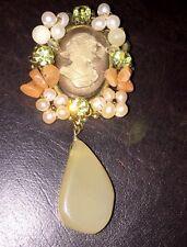 CAMEO BROOCH PIN Green Rhinestone Faux Pearls Dangle Stone Coral Stones Jewelry