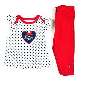 Tommy Hilfiger Baby 3-6 MO White Red Sleeveless Polka Dot T Shirt Pants Set NEW
