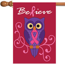 New Toland - Believe - Pink Ribbon Support Breast Cancer Owl Red House Flag