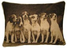 Jack Russell Terrier Puppies Sepia Oblong Woven Tapestry Cushion Cover