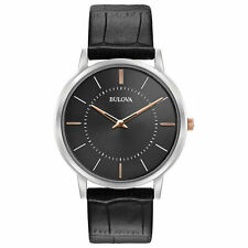 Bulova Classic Men's Quartz Rose Gold Accents Black Leather 98A167 New with Tags