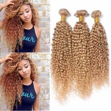 1 Bundle #27 Honey Blonde Kinky Curly Brazilian Human Hair Weave Wefts Extension