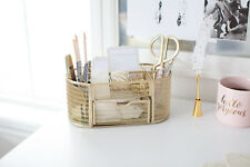 Blu Monaco Gold Desk Organizer with Drawer - for Home or Office