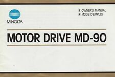 MINOLTA MOTOR DRIVE MD-90 OWNER'S INSTRUCTION MANUAL, 1985, NEW BOOK