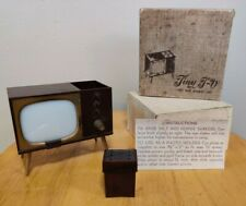 Vintage Tiny TV Salt And Pepper Shakers Set  Photo Holder With Box