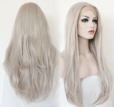 Ebingoo Long Hair Silver Platinum Blonde Lace Front Lace Wigs Synthetic Ash Heat