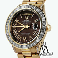 Rolex President 18kt Yellow Gold Day Date Brown Dial Diamond Case Watch