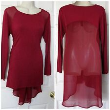 BEBE MAROON LONG SLEEVE CHIFFON BACK TOP TUNIC NEW SMALL S