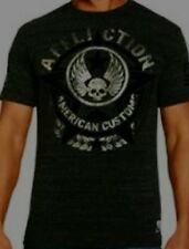 Affliction Men's Constable Flocked T-shirt Black & silver SMALL distressed cool