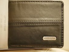 NEW WITH BOX LONDON FOG MEN'S BLACK BIFOLD LEATHER WALLET STITCH DESIGN